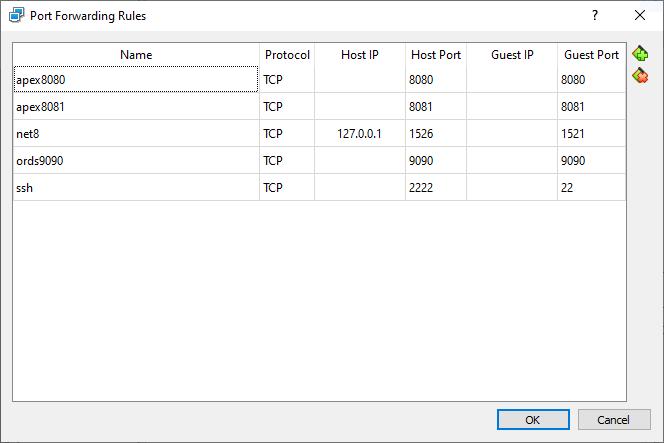 port forwarding rules for VM DEV